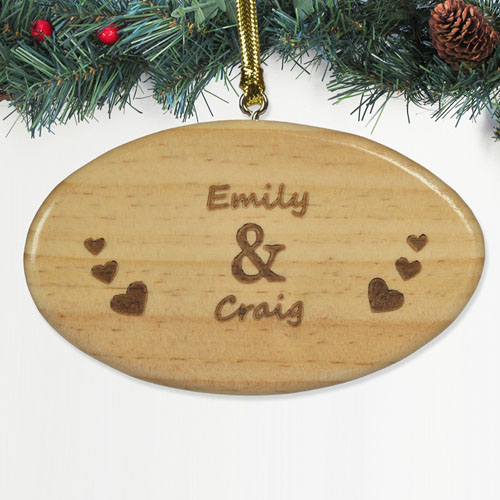Engraved Valentine's Day Wood Ornament