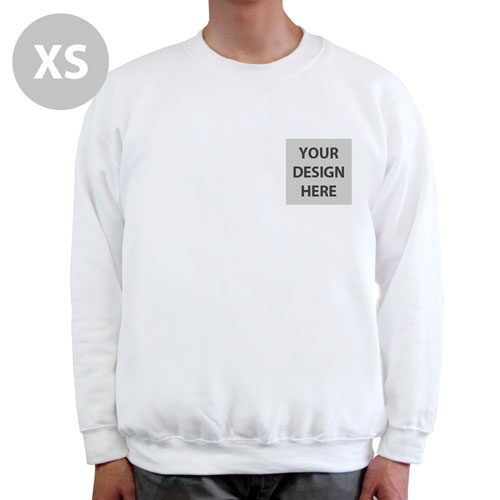 Custom Printed Gildan White Sweatshirt, XS