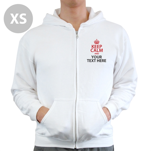 Personalized Customizable Keep Calm White Extra Small Size Zipped Hoodie