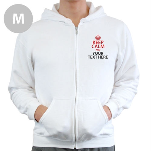 Keep Calm Personalized Text White Medium Size Hoodies