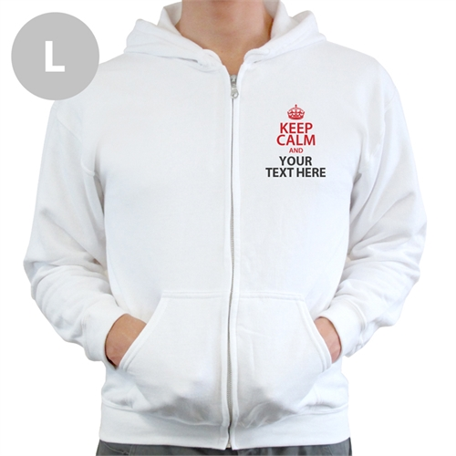 Personalized Keep Calm Personalized Text White Large Size Hoodie Sweatshirt