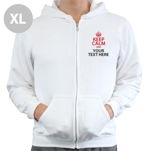 Personalizable Keep Calm With Custom Text White Extra Large Size Hoodies