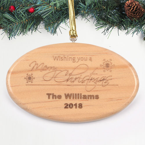 Personalized Engraved Wishing You A Merry Christmas Wood Ornament
