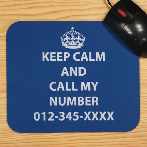 Custom Printed Blue Keep Calm Personalized Message Mouse Pad