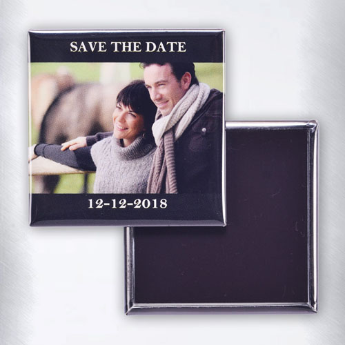 Top And Bottom Black Border Personalized Text Square Photo Magnet