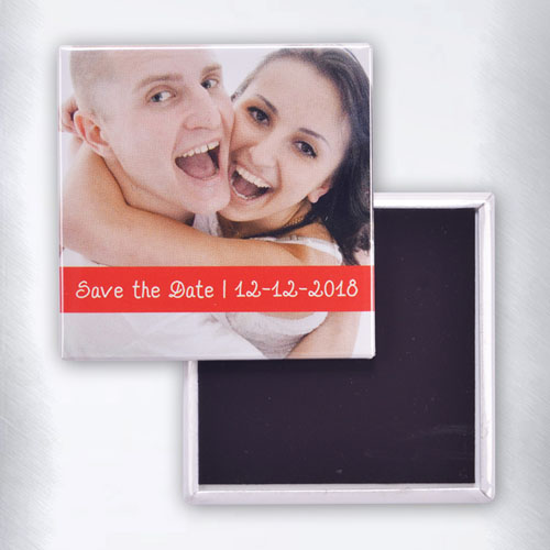 Personalized Photo Red Text Box Square Photo Magnet
