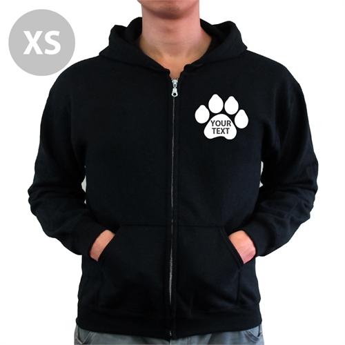 Personalized Paw Print Custom Word Black Extra Small Zipped Hoodie