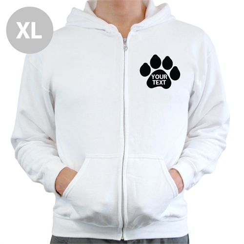 Paw Print Custom Full Zipped Hoodies Extra Large