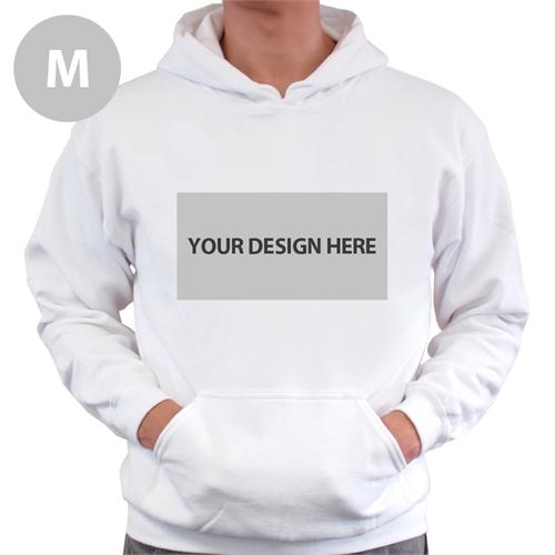 Custom Landscape Image & Text White Without Zipper Medium Size Hoodies