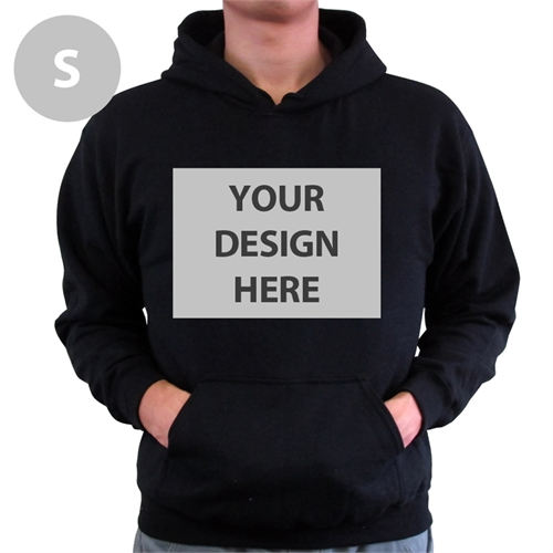 Personalized Custom Full Front No Zipper Black Small Size Hoodies