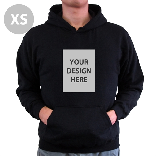 Personalized Hoodies Custom Portrait Black Extra Small Size