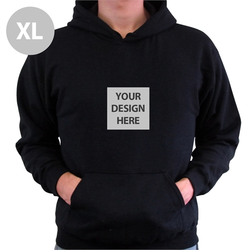 Mini Square Image Custom Hoodie With Kangaroo Pouch Black Extra Large Size