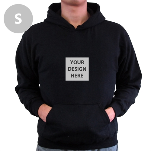 735a7a23 Mini Square Image Custom Hoodie with Kangaroo Pouch Black Small ...