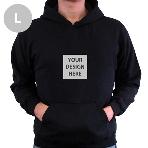 Mini Square Image Custom Hoodie With Kangaroo Pouch Black Large Size