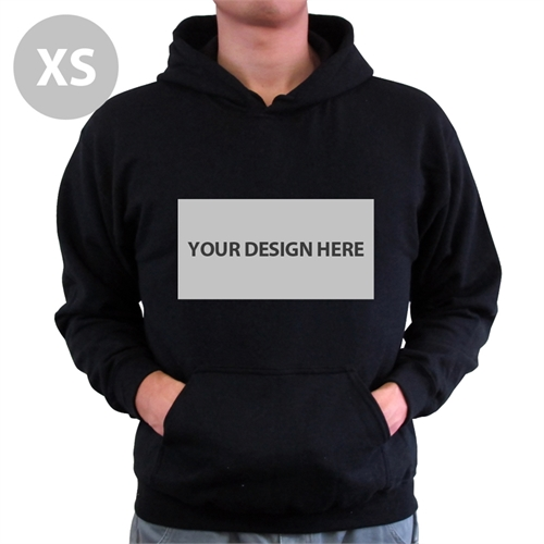 Personalized Hoodies Custom Landscape Image & Text Black Without Zipper Extra Small Size Hoodie