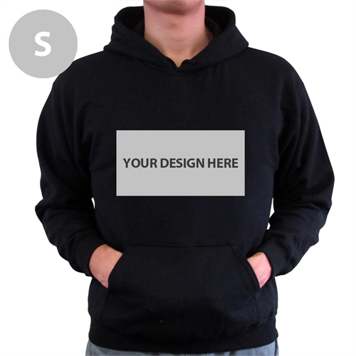 Personalized Custom Landscape Image & Text Black Without Zipper Small Size Hoodies