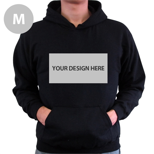 Custom Landscape Image & Text Black Without Zipper Medium Size Hoodies