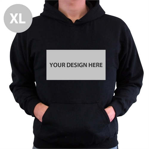 Custom Landscape Image & Text Black Without Zipper Extra Large Size Hoodies
