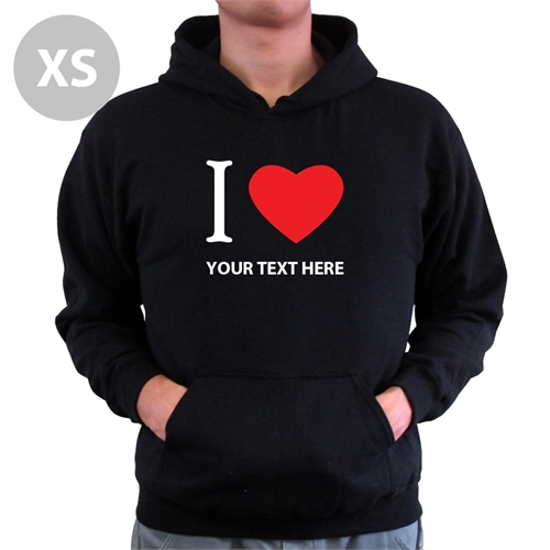 Personalized Hoodies Personalized I Love (Heart) Black Xs
