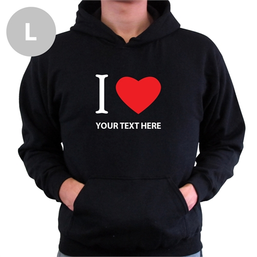 Personalized I Love (Heart) Black Large Hoodies
