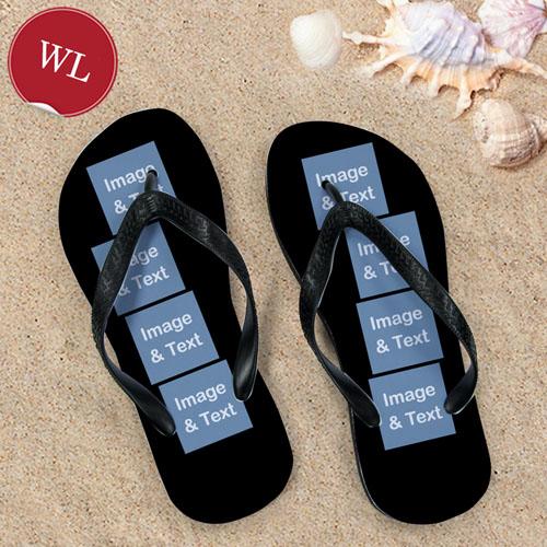 Design My Own Black Eight Collage Women Large Flip Flop Sandals