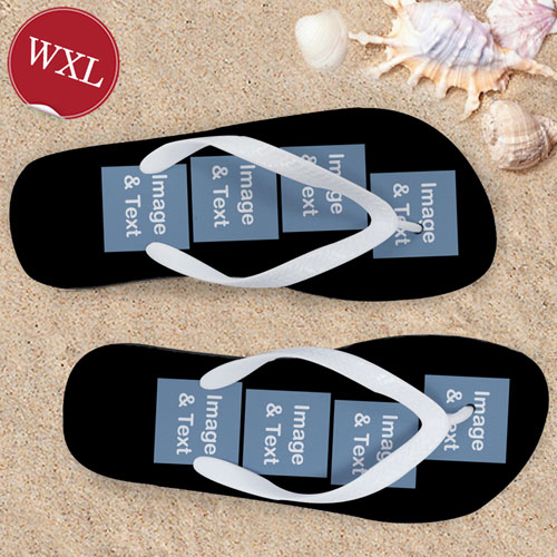 Personalized Flip Flops Eight Image, Women's Extra Large
