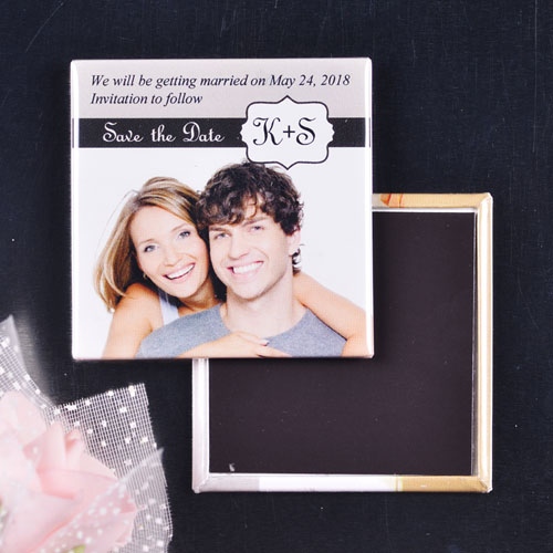 White Label Wedding Save The Date Square Photo Magnet