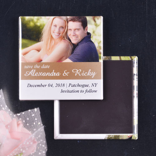 Gorgeous Gold Wedding Theme Square Photo Magnet