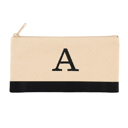 2 Tone Black Personalized Embroidered One Initial Small (Single Side)