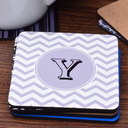 Personalized Initial Grey Chevron (One Coaster)