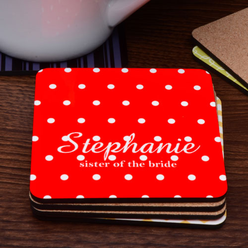Monogrammed Polka Dots Personalized Cork Coaster Red