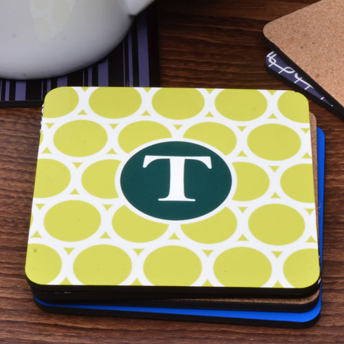 Green and Lime Personalized Name Polka Dot (One Coaster)
