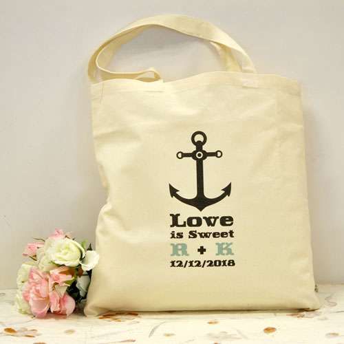Personalized Black Nautical Anchor Cotton Tote Bag