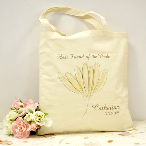 Personalized Yellow Flowers Cotton Tote Bag