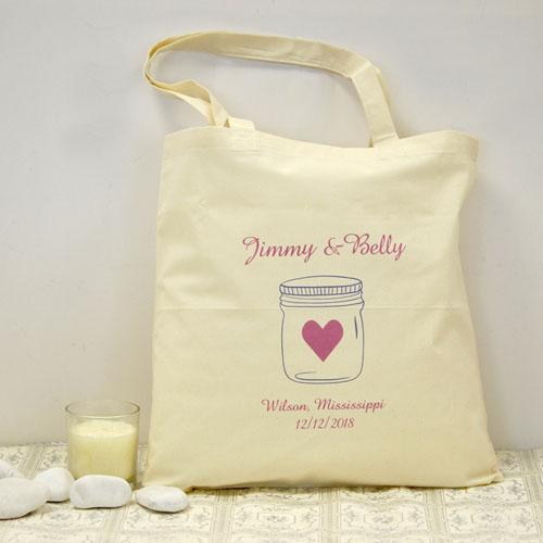 Personalized Wedding Pink Mason Jar Cotton Tote Bag