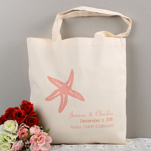 Personalized Pink Starfish Beach Lover Wedding Cotton Tote Bag