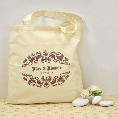 Lavender Swirly Vines Personalized Wedding Cotton Tote Bag