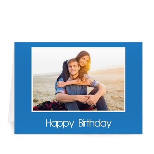 Custom Classic Blue Photo Birthday Cards, 5X7 Folded