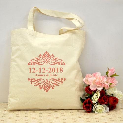 Hot Pink Swirls Wedding Favors Cotton Tote Bag