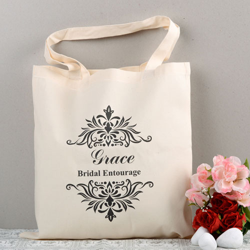 Vintage Swirl Personalized Wedding Cotton Tote Bag