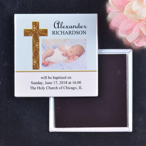 Baby Boy Dedication Square Photo Magnet