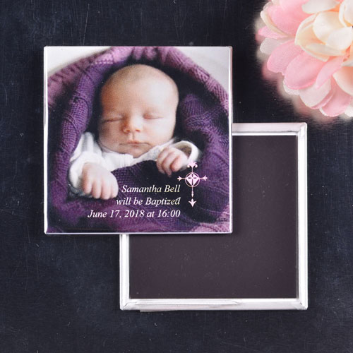 Pink Simple Cross Design Baptism Square Photo Magnet