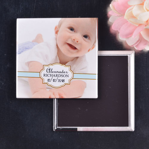 Boy Christening Naming Day Square Photo Magnet