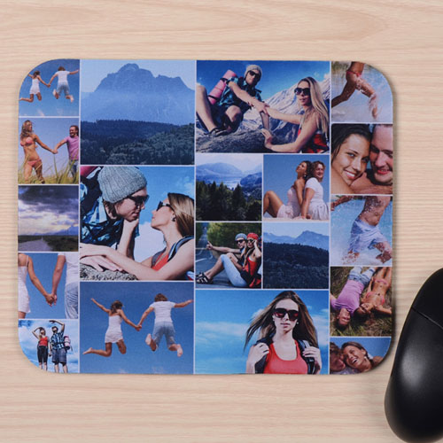 Custom Printed Nineteen Collage Instagram Round Mouse Pad