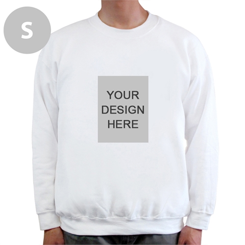 Custom Portrait Image Personalized White Sweatshirt, S