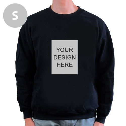 Custom Portrait Image Personalized Black Sweatshirt, S