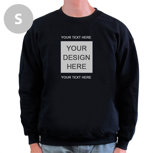 Design Your Own Image & Two Text Lines Black S Sweatshirt