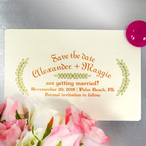 Modern Leaf Wedding Love Save The Date Photo Magnets