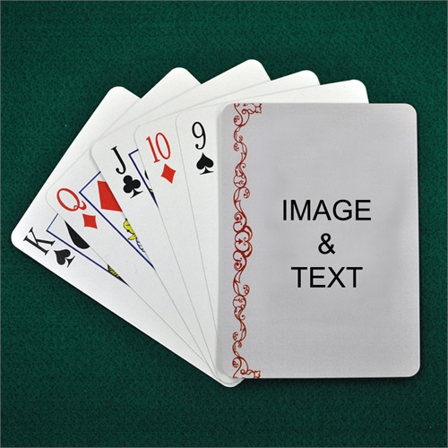 Personalized Photo Gallery Cranberry Lace Playing Cards