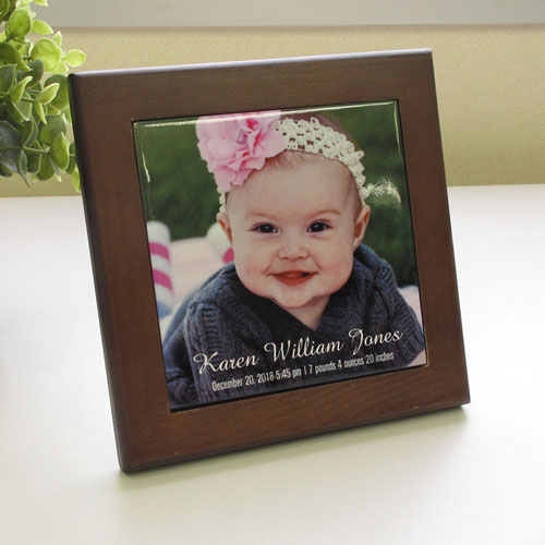 Custom Printed Photo Wood Framed Ceramic Tile